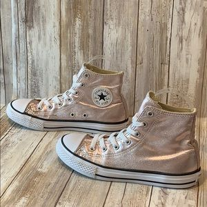 Converse Girl's Size 3 Metallic Blush Sneakers